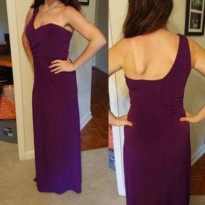 Laundry One Shoulder Purple floor length Dress